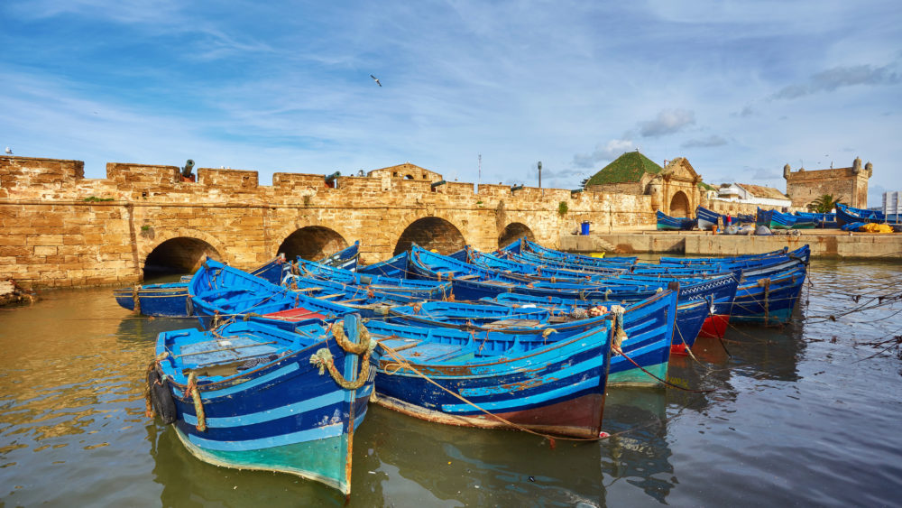 Blue fishing boats in the port of Essaouira